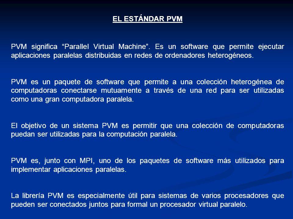 EL ESTÁNDAR PVM PVM significa Parallel Virtual Machine. Es un software que permite ejecutar aplicaciones paralelas distribuidas en redes de ordenadore
