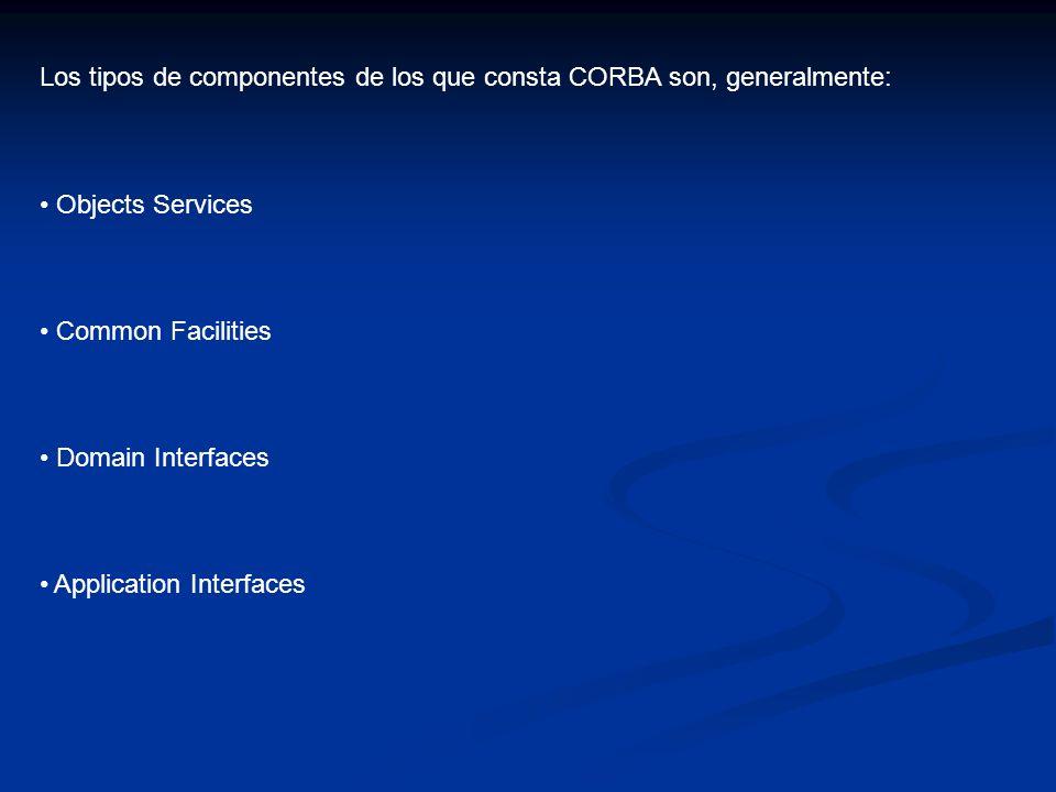 Los tipos de componentes de los que consta CORBA son, generalmente: Objects Services Common Facilities Domain Interfaces Application Interfaces
