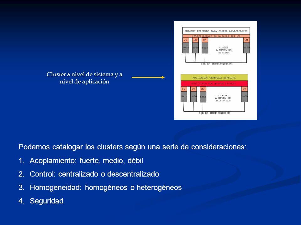 Podemos catalogar los clusters según una serie de consideraciones: 1.Acoplamiento: fuerte, medio, débil 2.Control: centralizado o descentralizado 3.Ho