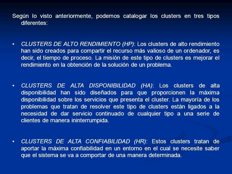Según lo visto anteriormente, podemos catalogar los clusters en tres tipos diferentes: CLUSTERS DE ALTO RENDIMIENTO (HP): Los clusters de alto rendimi
