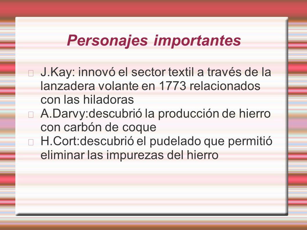 Personajes importantes J.Kay: innovó el sector textil a través de la lanzadera volante en 1773 relacionados con las hiladoras A.Darvy:descubrió la pro