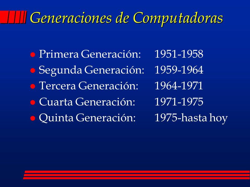 Generaciones de Computadoras l Primera Generación: 1951-1958 l Segunda Generación: 1959-1964 l Tercera Generación: 1964-1971 l Cuarta Generación: 1971-1975 l Quinta Generación:1975-hasta hoy