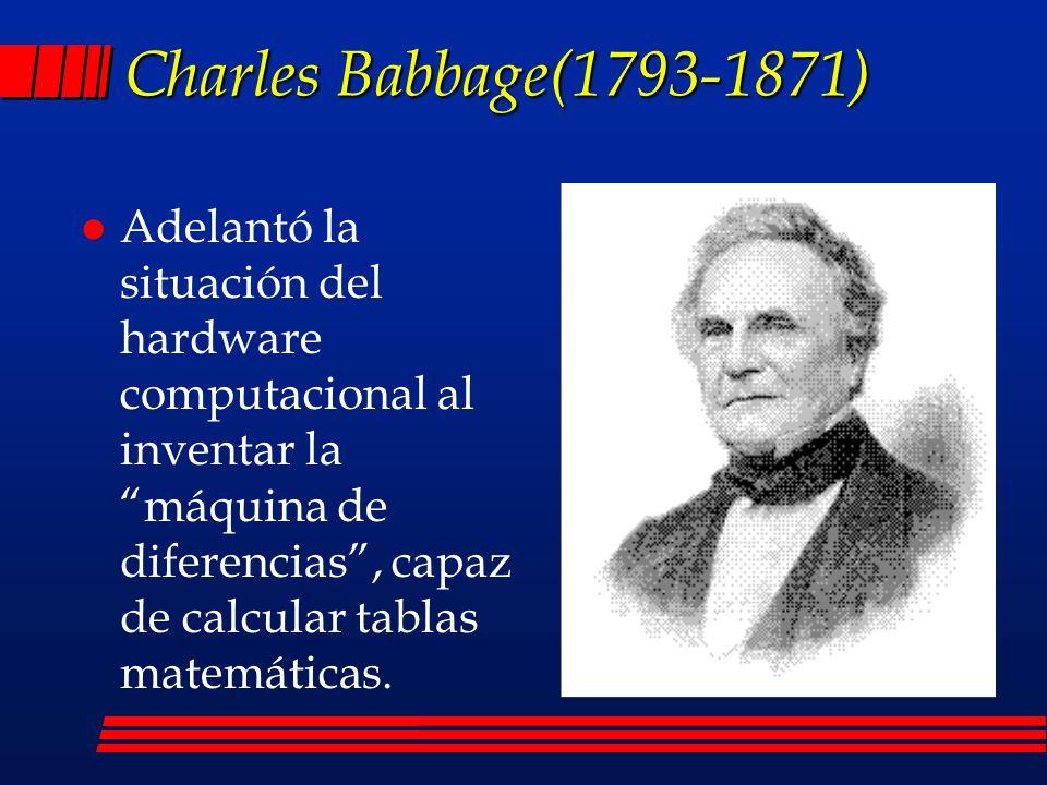 l Adelantó la situación del hardware computacional al inventar la máquina de diferencias, capaz de calcular tablas matemáticas.
