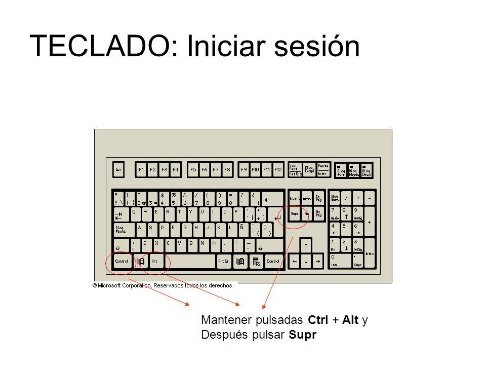 TECLADO: Iniciar sesión Mantener pulsadas Ctrl + Alt y Después pulsar Supr