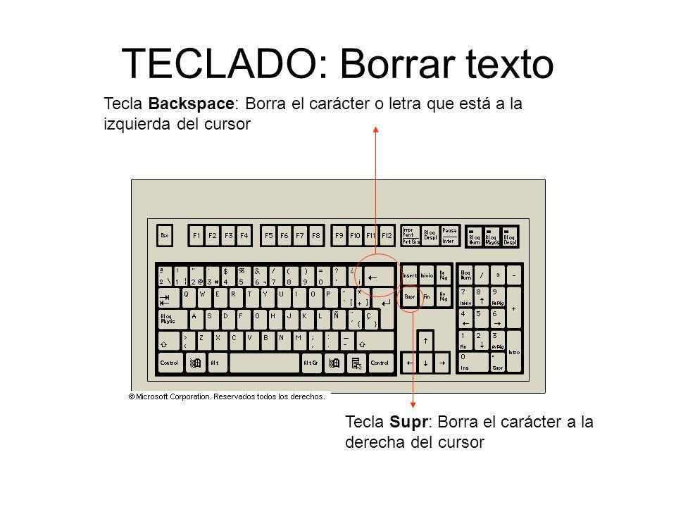 TECLADO: Borrar texto Tecla Backspace: Borra el carácter o letra que está a la izquierda del cursor Tecla Supr: Borra el carácter a la derecha del cursor