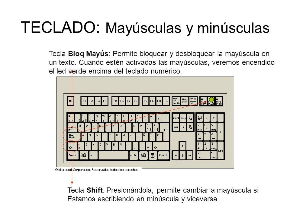TECLADO: Mayúsculas y minúsculas Tecla Shift: Presionándola, permite cambiar a mayúscula si Estamos escribiendo en minúscula y viceversa.