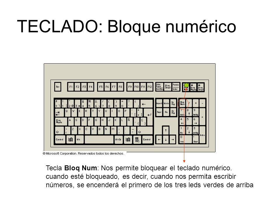 TECLADO: Bloque numérico Tecla Bloq Num: Nos permite bloquear el teclado numérico.