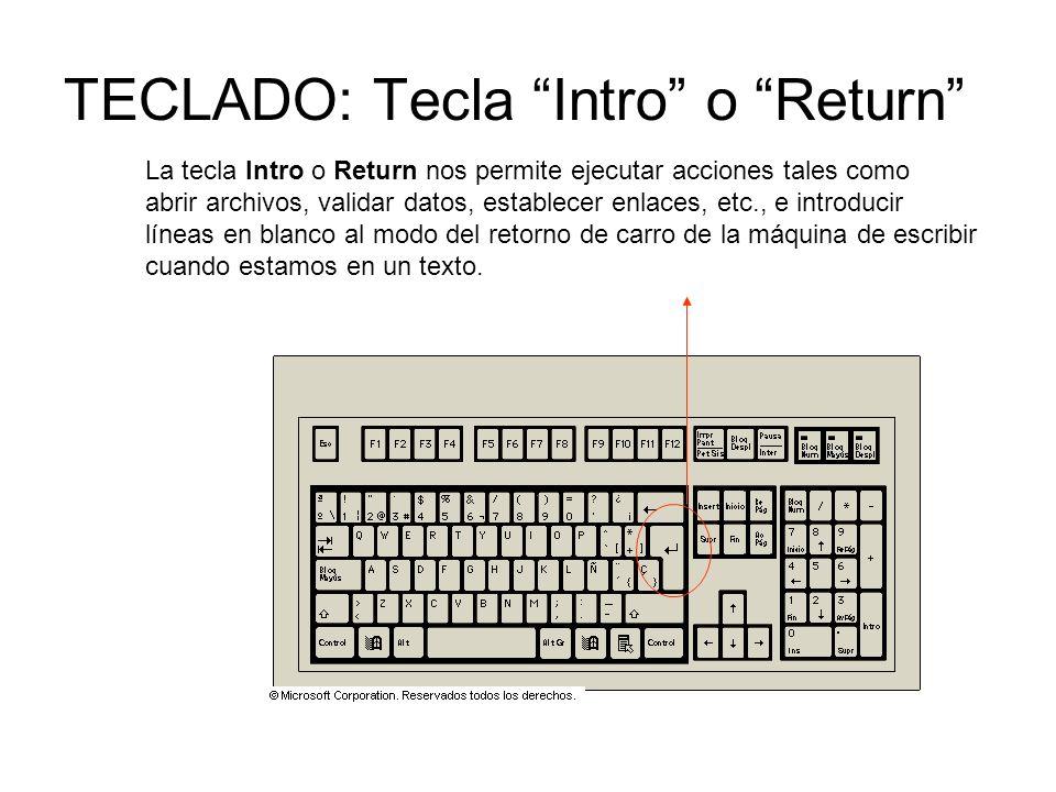 TECLADO: Tecla Intro o Return La tecla Intro o Return nos permite ejecutar acciones tales como abrir archivos, validar datos, establecer enlaces, etc., e introducir líneas en blanco al modo del retorno de carro de la máquina de escribir cuando estamos en un texto.