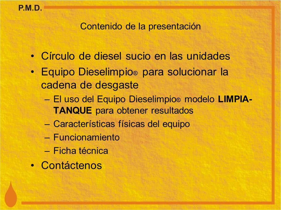 Contenido de la presentación Círculo de diesel sucio en las unidades Equipo Dieselimpio ® para solucionar la cadena de desgaste –El uso del Equipo Die