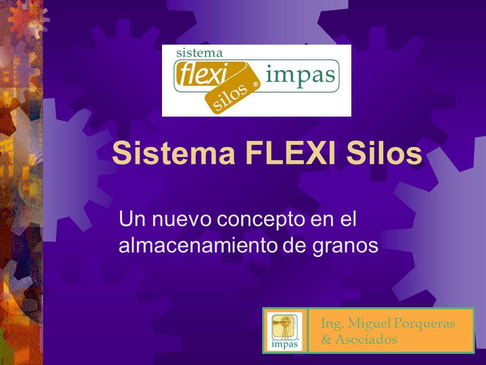 2 Sistema de almacenamiento temporario para productos a granel (Sistema FLEXI Silos) Módulos plegables y portátiles Confeccionados con telas sintéticas Diferentes dimensiones y capacidades Re-usables No requieren de máquinas especiales para su operación Principios del Sistema FLEXI Silos