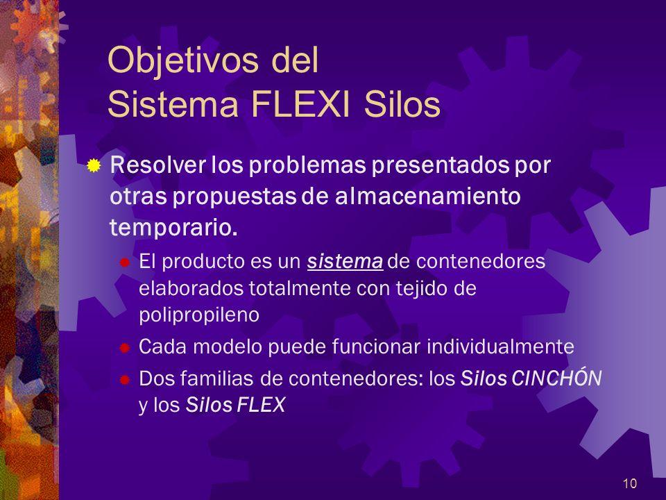 10 Objetivos del Sistema FLEXI Silos Resolver los problemas presentados por otras propuestas de almacenamiento temporario. El producto es un sistema d