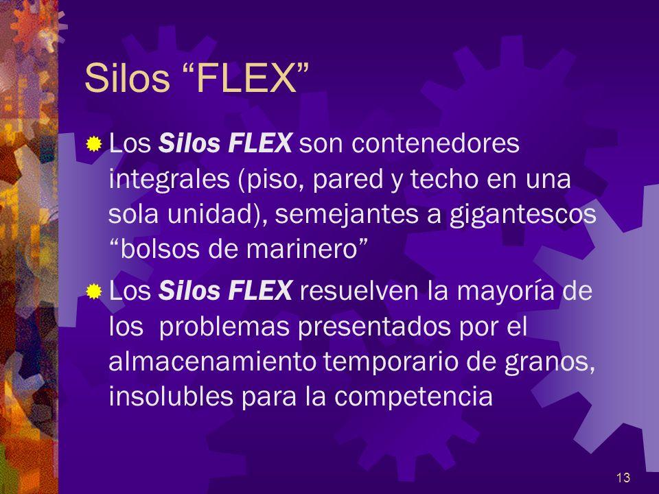 13 Silos FLEX Los Silos FLEX son contenedores integrales (piso, pared y techo en una sola unidad), semejantes a gigantescos bolsos de marinero Los Sil