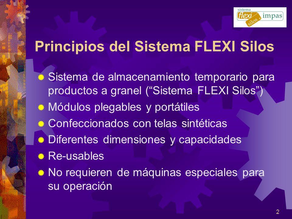 2 Sistema de almacenamiento temporario para productos a granel (Sistema FLEXI Silos) Módulos plegables y portátiles Confeccionados con telas sintética