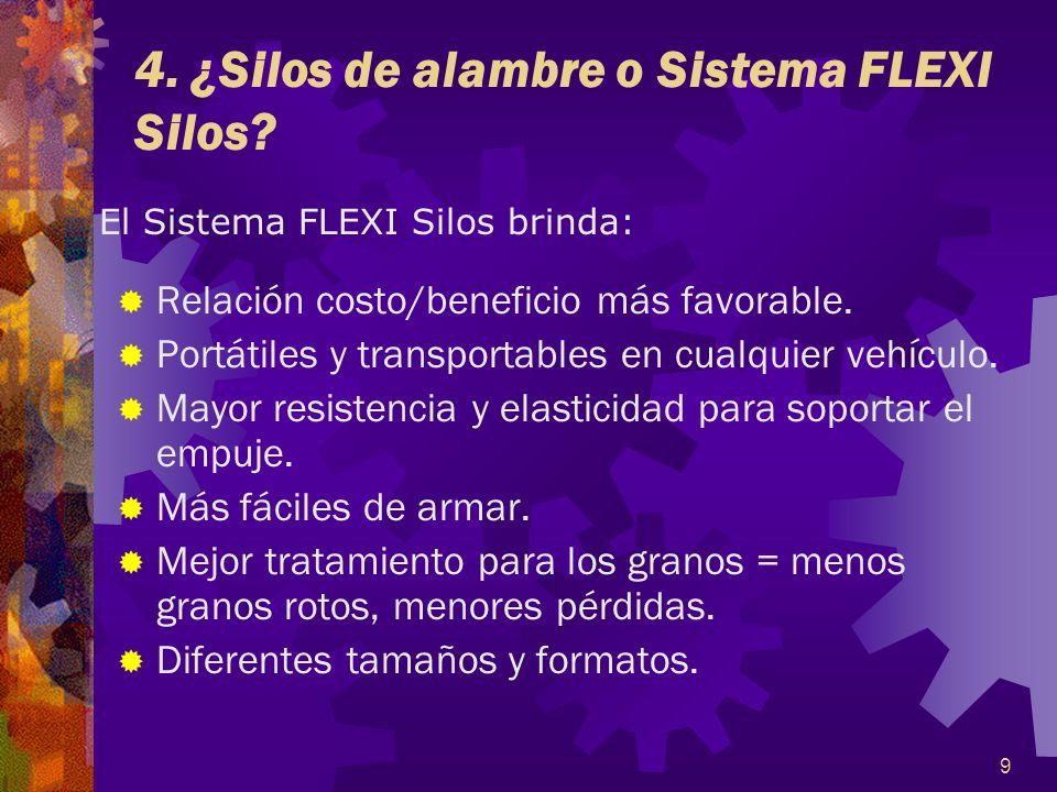 9 4. ¿Silos de alambre o Sistema FLEXI Silos? Relación costo/beneficio más favorable. Portátiles y transportables en cualquier vehículo. Mayor resiste