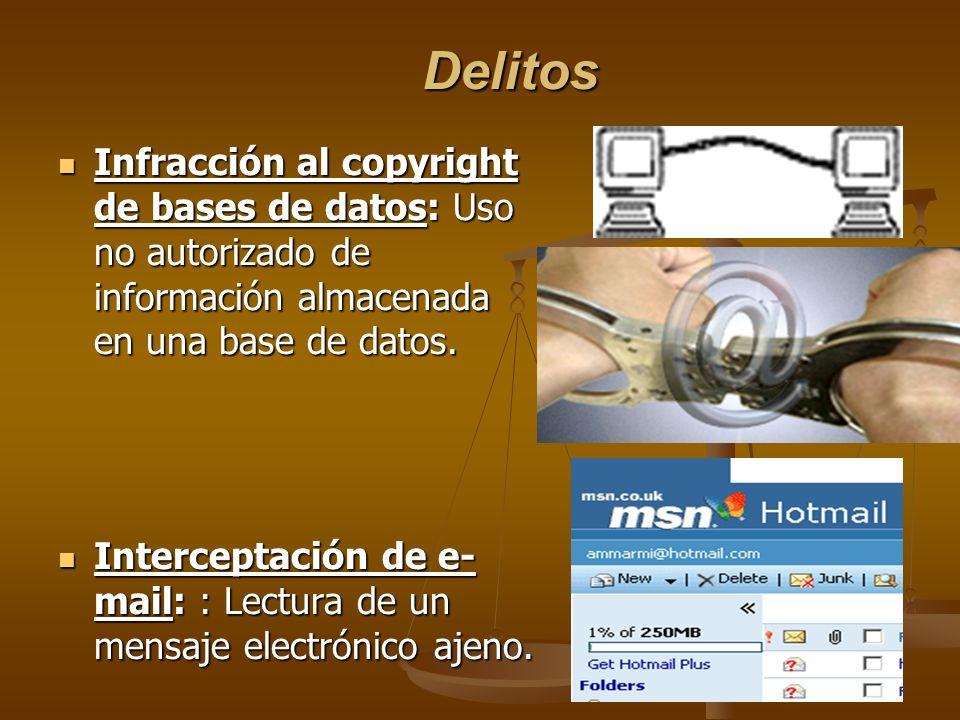 Delitos Infracción al copyright de bases de datos: Uso no autorizado de información almacenada en una base de datos. Infracción al copyright de bases
