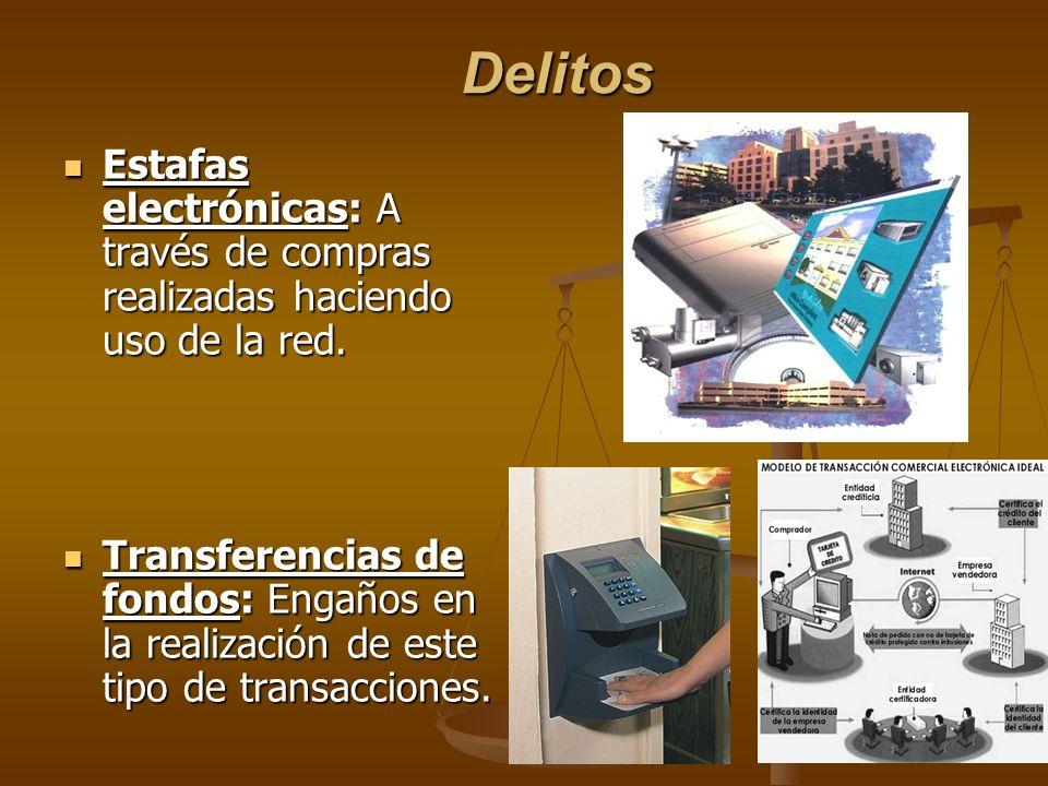 Delitos Estafas electrónicas: A través de compras realizadas haciendo uso de la red. Estafas electrónicas: A través de compras realizadas haciendo uso