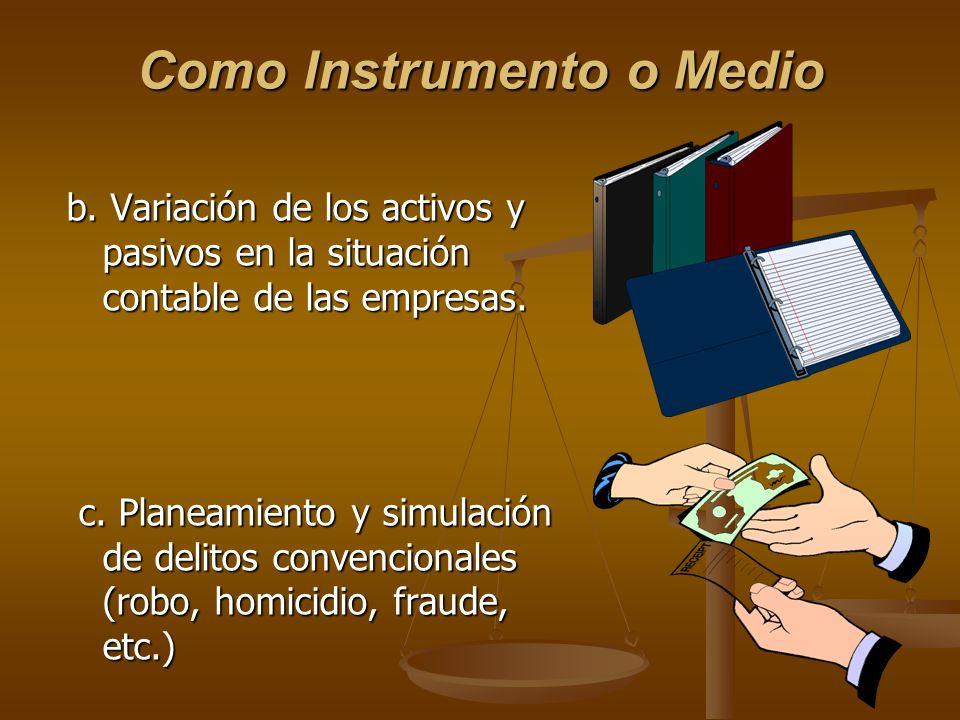 b. Variación de los activos y pasivos en la situación contable de las empresas. c. Planeamiento y simulación de delitos convencionales (robo, homicidi