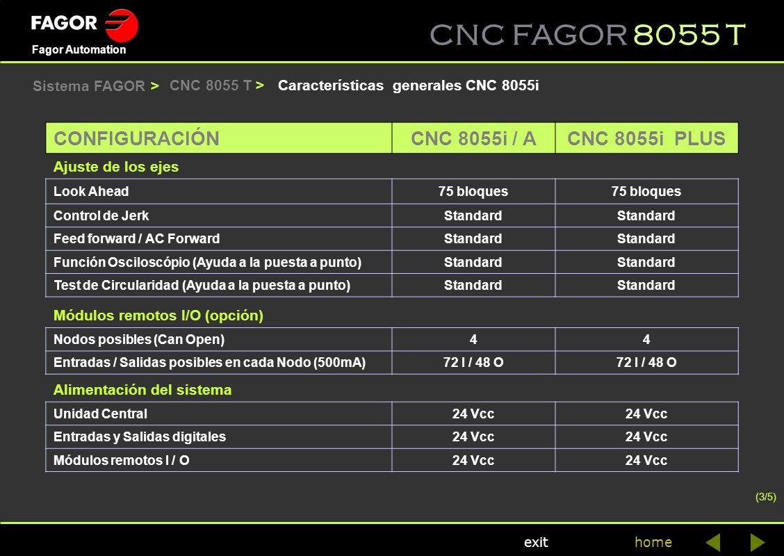 CNC FAGOR 8055 T home Fagor Automation exit Características generales CNC 8055iCNC 8055 T > CONFIGURACIÓN CNC 8055i / ACNC 8055i PLUS Ajuste de los ej