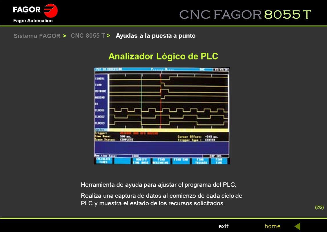 CNC FAGOR 8055 T home Fagor Automation exit Ayudas a la puesta a puntoCNC 8055 T > (2/2) Herramienta de ayuda para ajustar el programa del PLC. Realiz