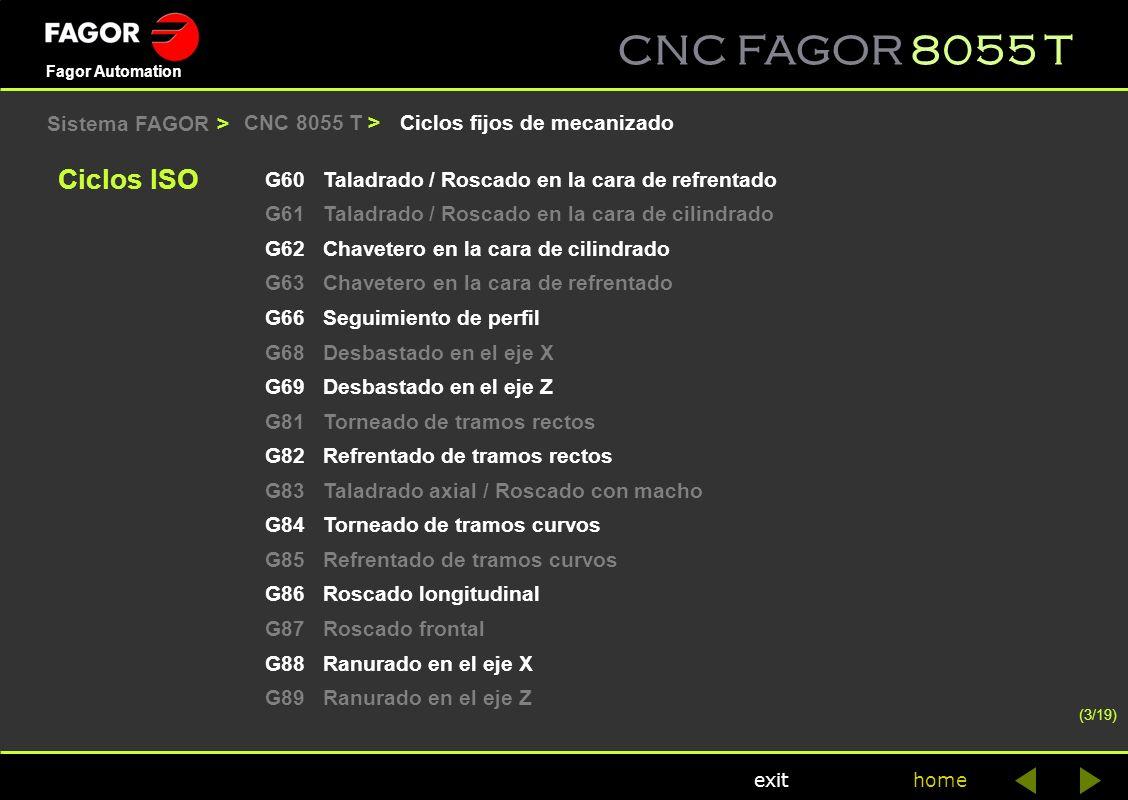 CNC FAGOR 8055 T home Fagor Automation exit Ciclos fijos de mecanizadoCNC 8055 T > G60Taladrado / Roscado en la cara de refrentado G61Taladrado / Rosc
