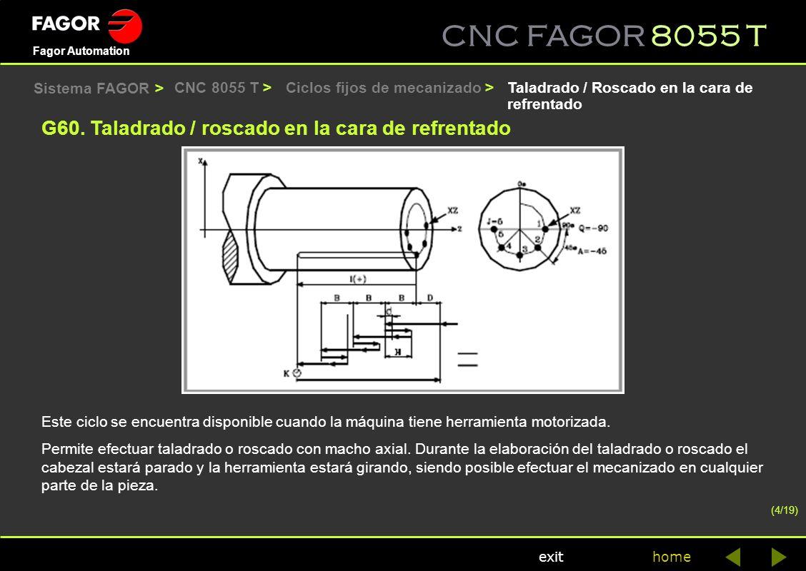 CNC FAGOR 8055 T home Fagor Automation exit Ciclos fijos de mecanizado >CNC 8055 T >Taladrado / Roscado en la cara de refrentado Este ciclo se encuent