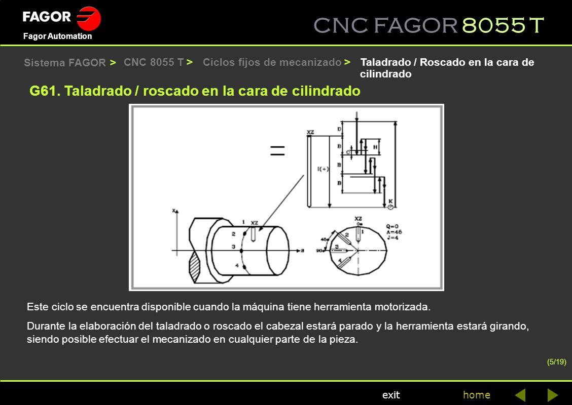 CNC FAGOR 8055 T home Fagor Automation exit CNC 8055 T >Taladrado / Roscado en la cara de cilindrado G61. Taladrado / roscado en la cara de cilindrado