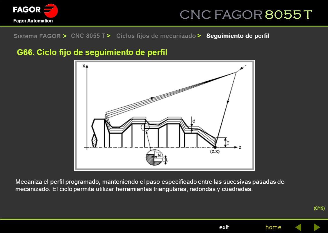 CNC FAGOR 8055 T home Fagor Automation exit CNC 8055 T >Seguimiento de perfil Mecaniza el perfil programado, manteniendo el paso especificado entre la