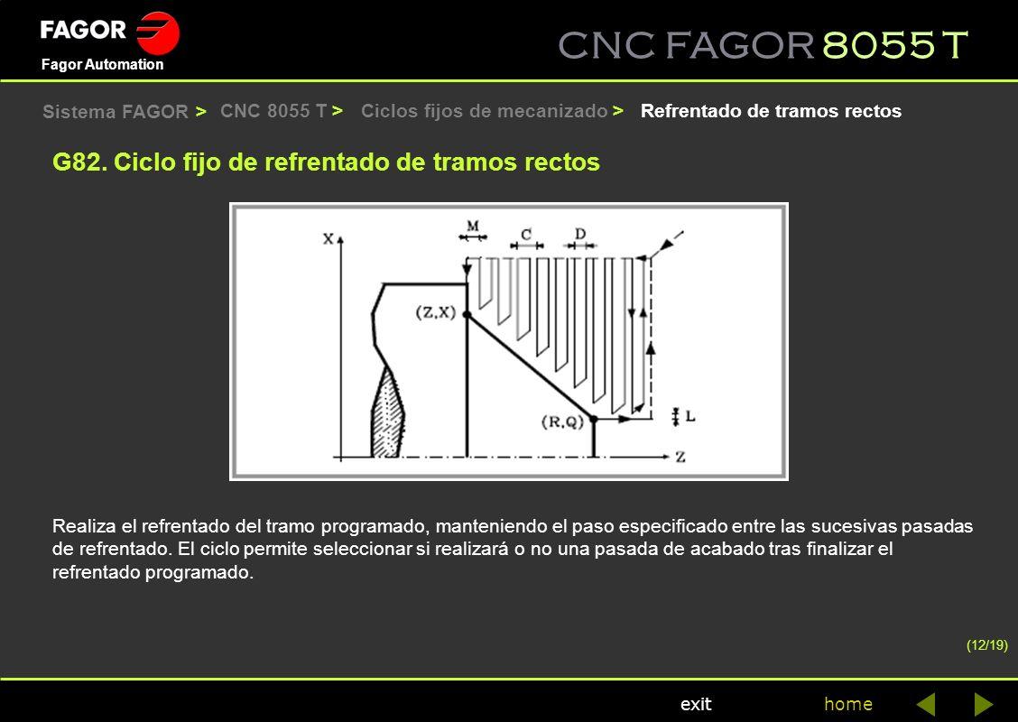 CNC FAGOR 8055 T home Fagor Automation exit CNC 8055 T > Realiza el refrentado del tramo programado, manteniendo el paso especificado entre las sucesi
