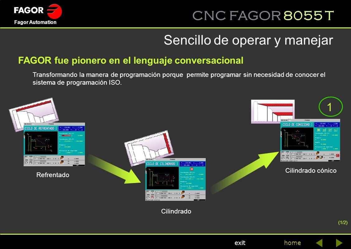CNC FAGOR 8055 T home Fagor Automation exit Transformando la manera de programación porque permite programar sin necesidad de conocer el sistema de pr