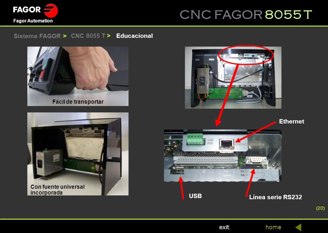 CNC FAGOR 8055 T home Fagor Automation exit EducacionalCNC 8055 T > Fácil de transportar Con fuente universal incorporada Ethernet Línea serie RS232 U