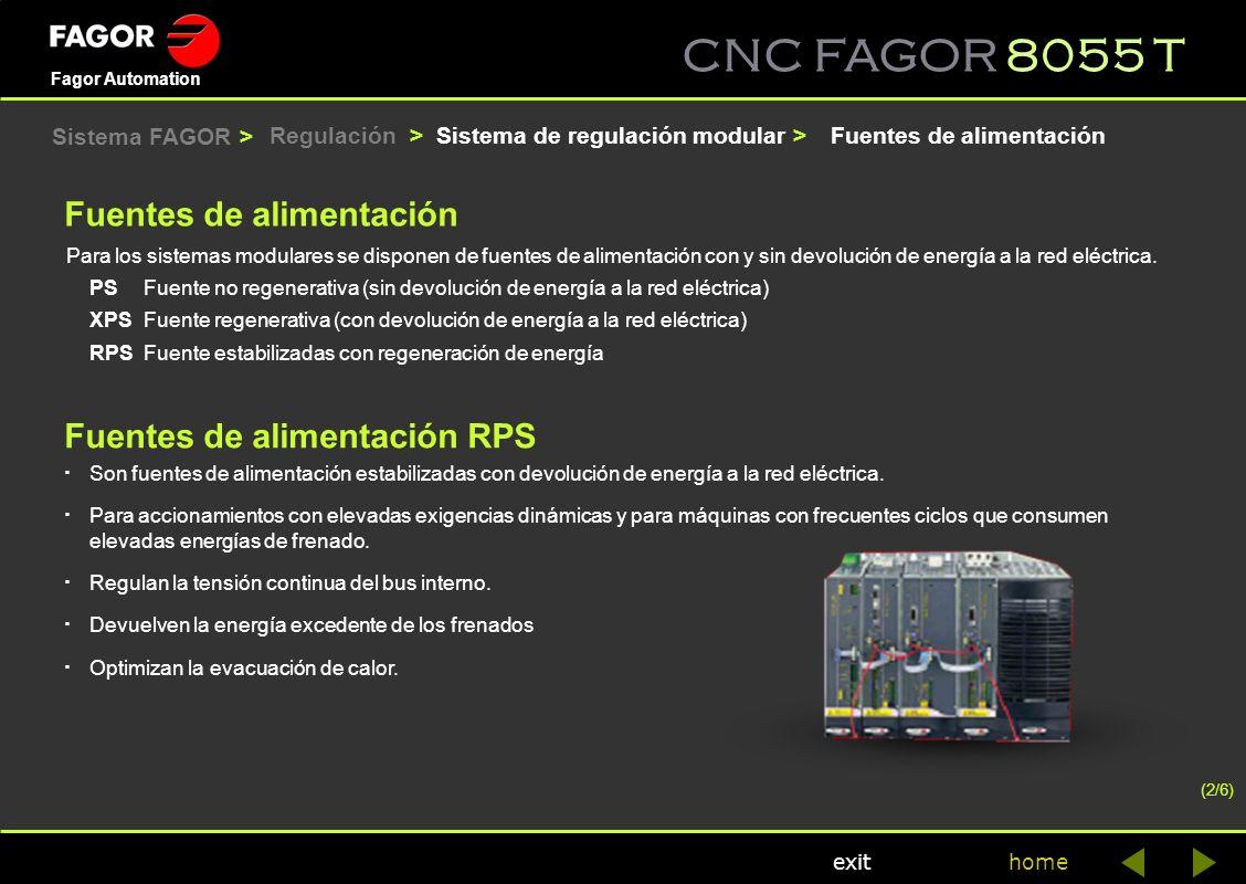 CNC FAGOR 8055 T home Fagor Automation exit Fuentes de alimentación RPS · Son fuentes de alimentación estabilizadas con devolución de energía a la red