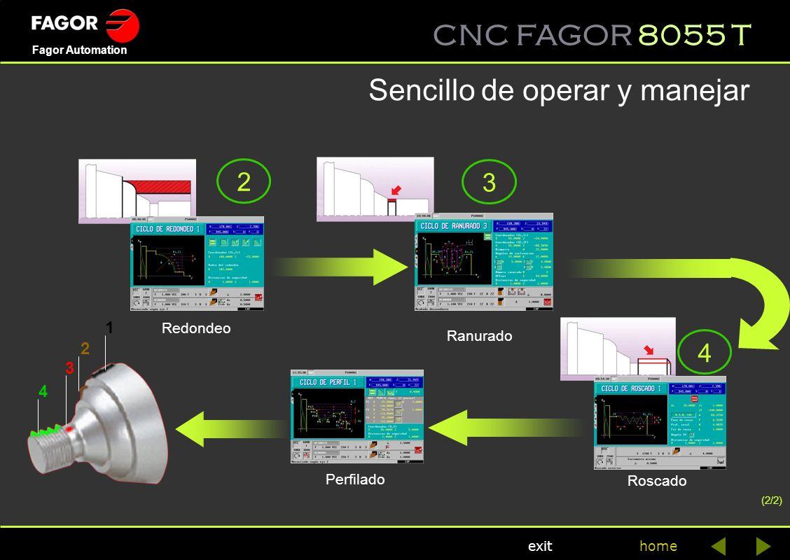 CNC FAGOR 8055 T home Fagor Automation exit Perfilado Redondeo Ranurado Roscado 1 2 3 4 2 3 4 Sencillo de operar y manejar (2/2)
