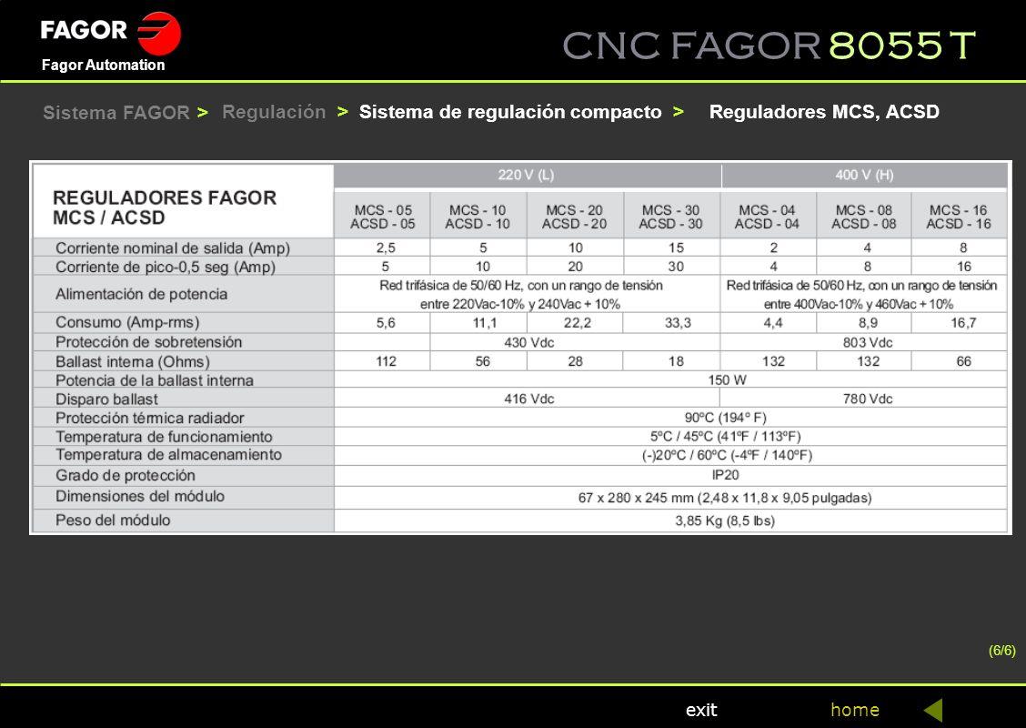 CNC FAGOR 8055 T home Fagor Automation exit (6/6) Sistema de regulación compacto >Reguladores MCS, ACSDRegulación > Sistema FAGOR >