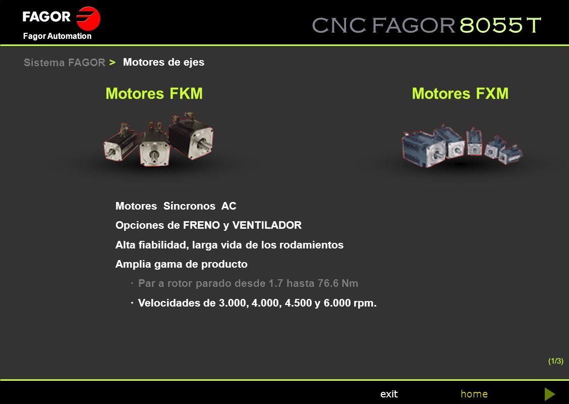 CNC FAGOR 8055 T home Fagor Automation exit Motores de ejes Motores FKMMotores FXM Motores Síncronos AC Opciones de FRENO y VENTILADOR Alta fiabilidad