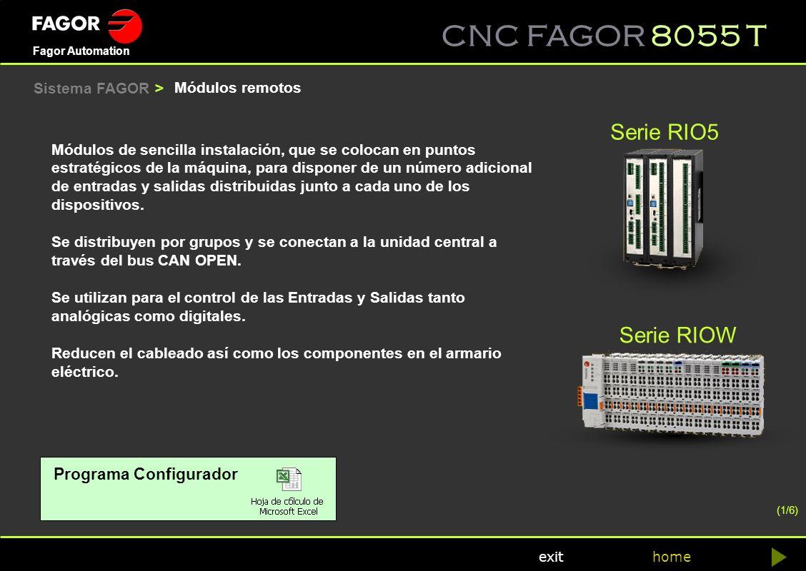 CNC FAGOR 8055 T home Fagor Automation exit Módulos de sencilla instalación, que se colocan en puntos estratégicos de la máquina, para disponer de un