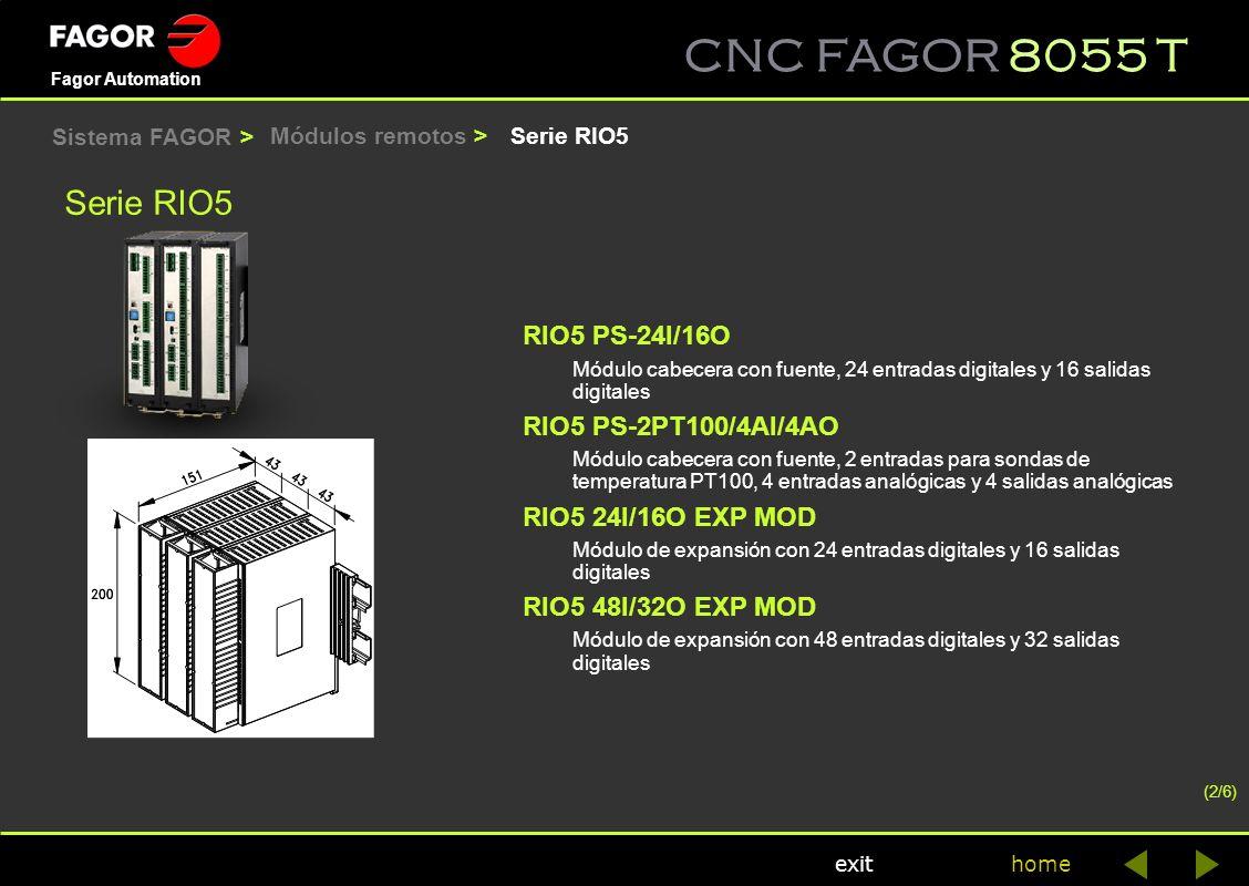 CNC FAGOR 8055 T home Fagor Automation exit Módulos remotos > Serie RIO5 RIO5 PS-24I/16O Módulo cabecera con fuente, 24 entradas digitales y 16 salida