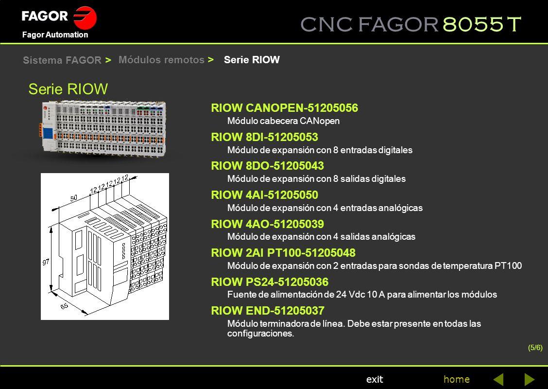 CNC FAGOR 8055 T home Fagor Automation exit Serie RIOW RIOW CANOPEN-51205056 Módulo cabecera CANopen RIOW 8DI-51205053 Módulo de expansión con 8 entra