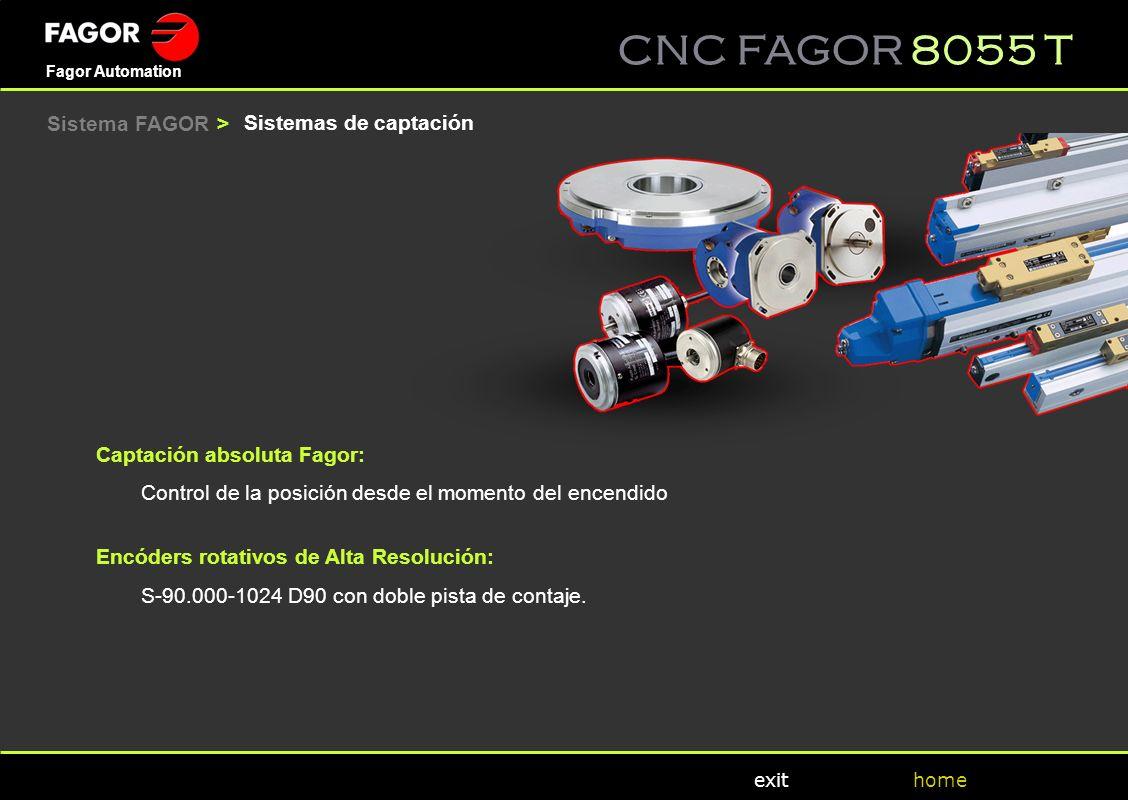 CNC FAGOR 8055 T home Fagor Automation exit Captación absoluta Fagor: Control de la posición desde el momento del encendido Encóders rotativos de Alta