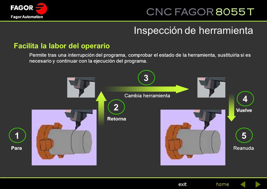 CNC FAGOR 8055 T home Fagor Automation exit Permite tras una interrupción del programa, comprobar el estado de la herramienta, sustituirla si es neces