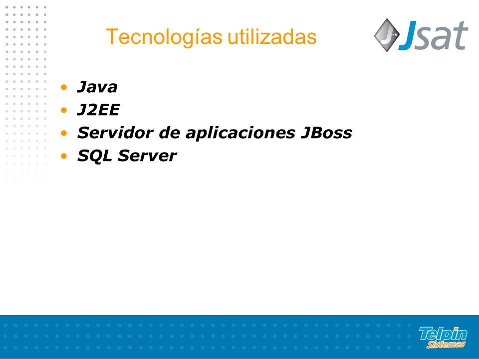Tecnologías utilizadas Java J2EE Servidor de aplicaciones JBoss SQL Server