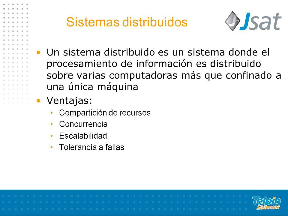 Sistemas distribuidos Un sistema distribuido es un sistema donde el procesamiento de información es distribuido sobre varias computadoras más que conf