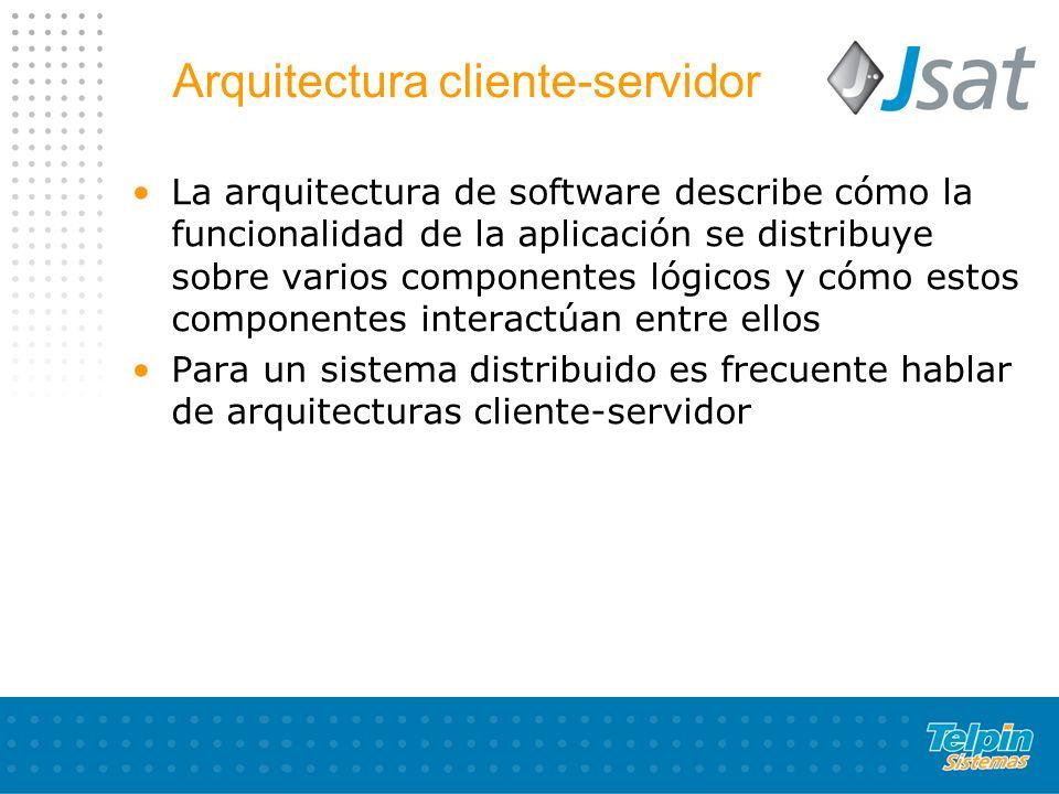 Arquitectura cliente-servidor La arquitectura de software describe cómo la funcionalidad de la aplicación se distribuye sobre varios componentes lógic