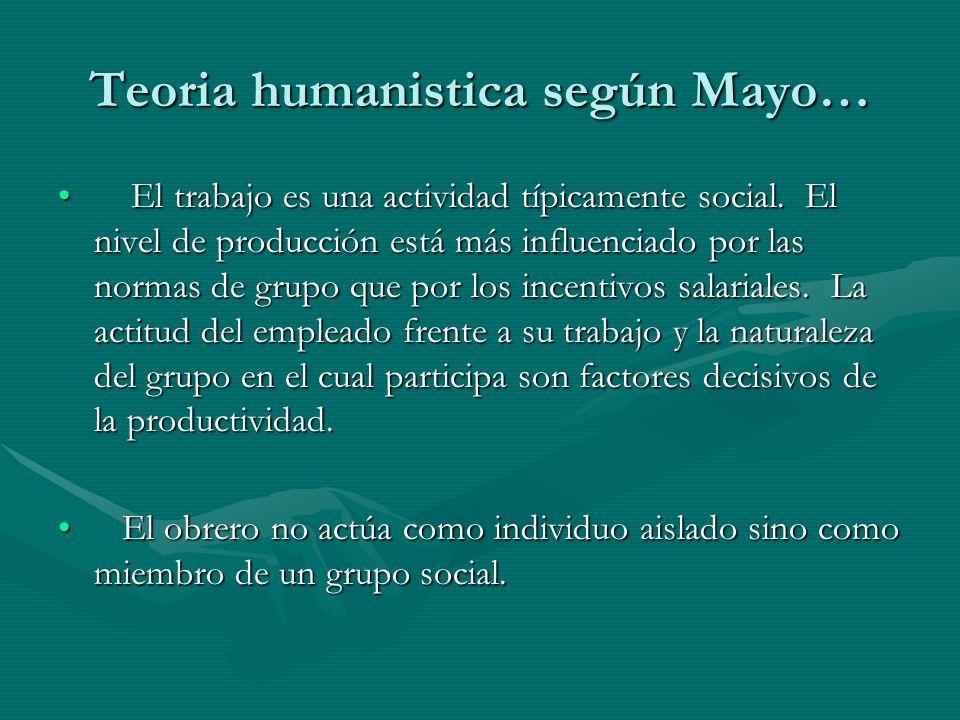 Teoria humanistica según Mayo… El trabajo es una actividad típicamente social. El nivel de producción está más influenciado por las normas de grupo qu
