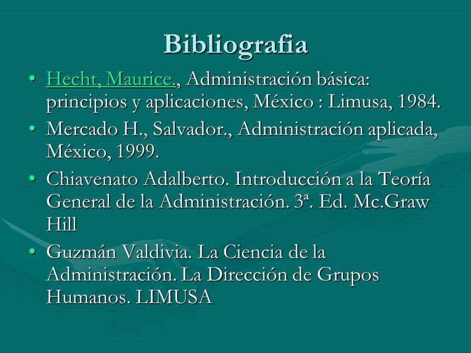 Bibliografia Hecht, Maurice., Administración básica: principios y aplicaciones, México : Limusa, 1984.Hecht, Maurice., Administración básica: principi