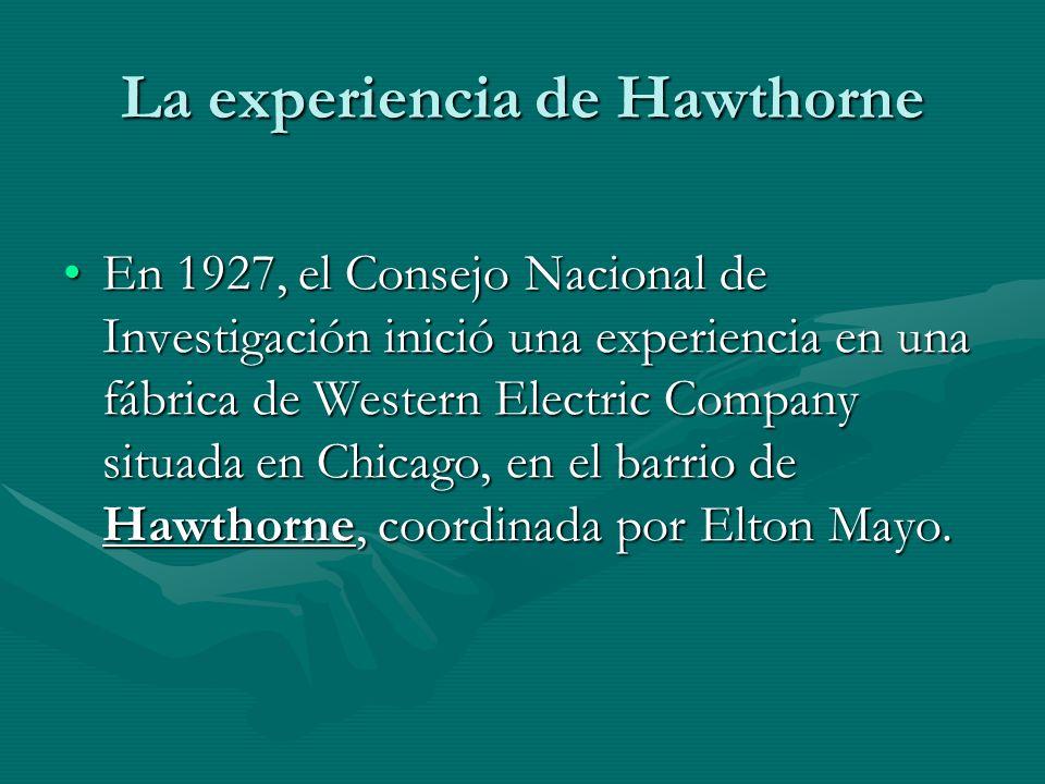 La experiencia de Hawthorne En 1927, el Consejo Nacional de Investigación inició una experiencia en una fábrica de Western Electric Company situada en