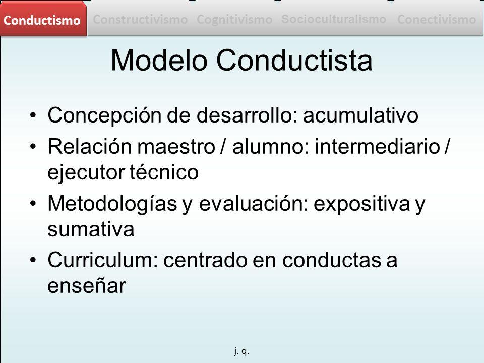 j. q. Modelo Conductista Concepción de desarrollo: acumulativo Relación maestro / alumno: intermediario / ejecutor técnico Metodologías y evaluación: