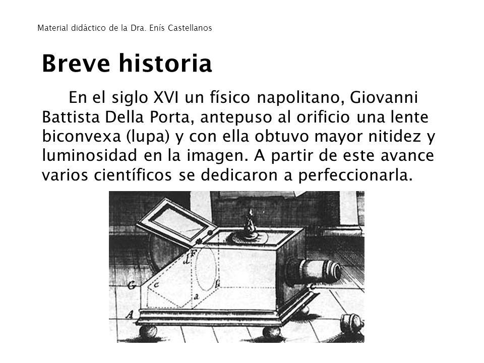 Breve historia En el siglo XVI un físico napolitano, Giovanni Battista Della Porta, antepuso al orificio una lente biconvexa (lupa) y con ella obtuvo