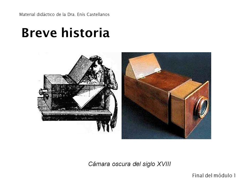 Breve historia Cámara oscura del siglo XVIII - Final del módulo 1 Material didáctico de la Dra. Enís Castellanos