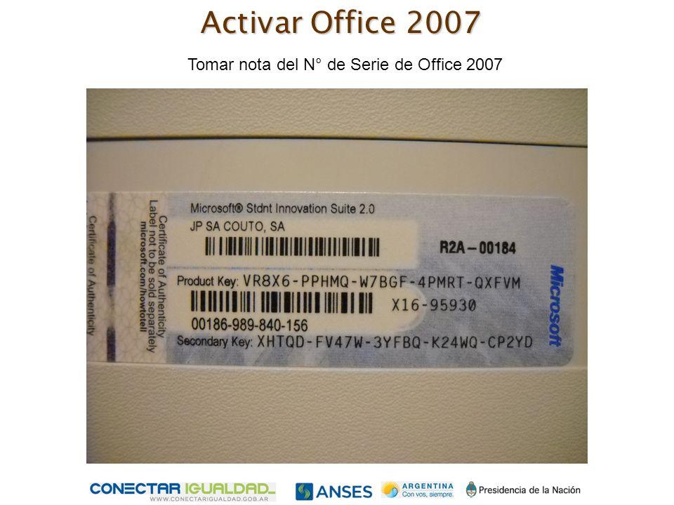 Tomar nota del N° de Serie de Office 2007 Activar Office 2007