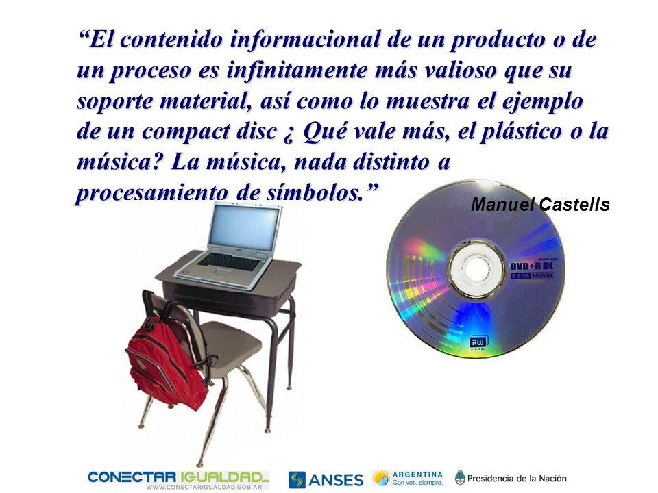 El contenido informacional de un producto o de un proceso es infinitamente más valioso que su soporte material, así como lo muestra el ejemplo de un compact disc ¿ Qué vale más, el plástico o la música.